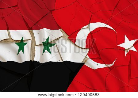Flag of Turkey and Syria on a cracked paint wall. A symbol of conflict between Ankara and Damascus while Syrian army approached Aleppo to cut off the Syrian armed opposition from the Turkish border.