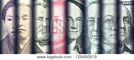Portraits / images / faces of famous leader on banknotes currencies of the most dominant countries in the world i.e. Japanese yen US dollar Chinese yuan Australian dollar. Financial concept.