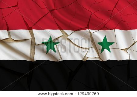 Flag of Syria on a cracked paint wall. A symbol of a fail state from Syrian Civil War. the UN only recognizes one Syrian Government that of the Syrian Arab Republic led by President Bashar al Assad.