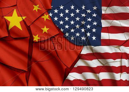 Flag of USA and China. A symbol of many conflict between Washington and Beijing i.e. military diplomatic trade politic naval armed investment currency economic south china sea territorial.