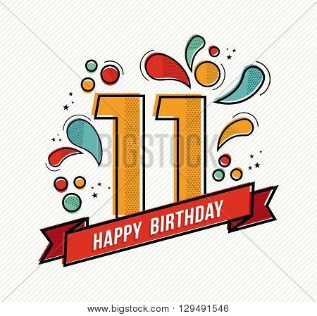 Colorful Happy Birthday Number 11 Flat Line Design