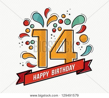 Colorful Happy Birthday Number 14 Flat Line Design