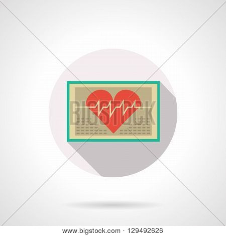 ECG with big red heart on the monitor. Modern diagnosis of cardiac diseases, computer technology in medicine. Round flat color style vector icon. Web design element for site, mobile and business.