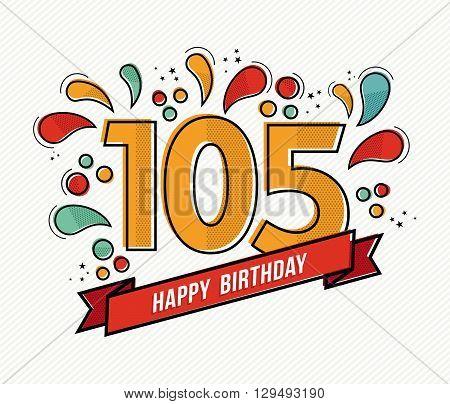 Color Happy Birthday Number 105 Flat Line Design