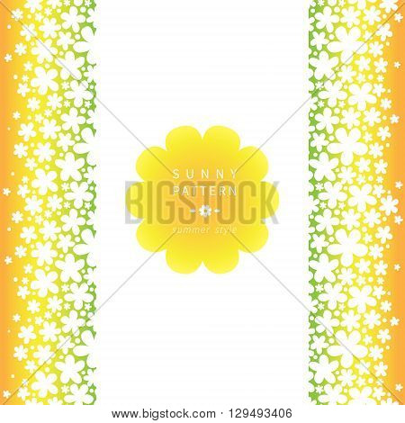 White Floral Seamless Border On Bright Background.
