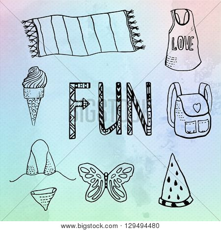 Summer beach vacation symbols set, hand draw illustration on watercolor vector background