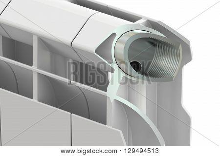Cut of a heating radiator 3D rendering