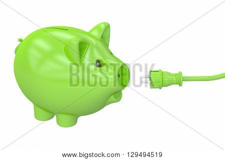 Energy saving concept piggy bank with socket and plug. 3D rendering