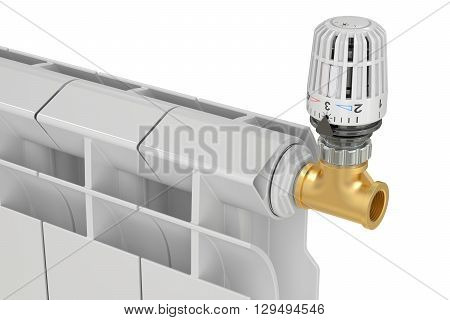 heating radiator thermostatic valve 3D rendering on white