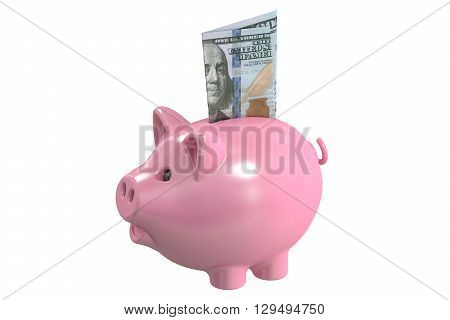 Piggy bank and money 3D rendering isolated on white background