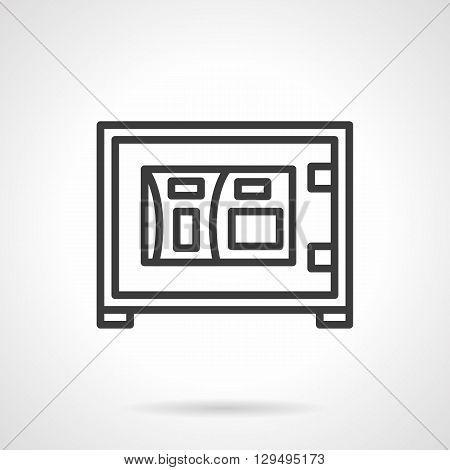 Safe box with digital lock. Electronic technology to protect against robberies. Protection of investments, banking. Simple black line vector icon. Single element for web design, mobile app.