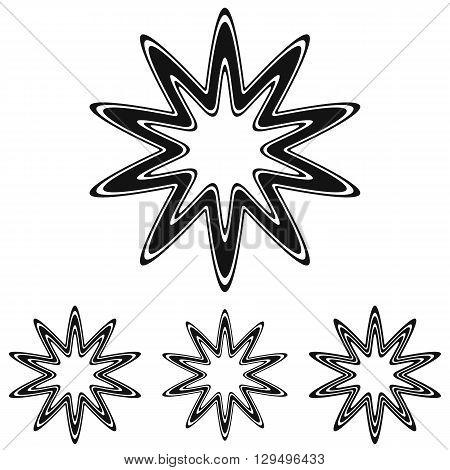 Black line star icon logo design set