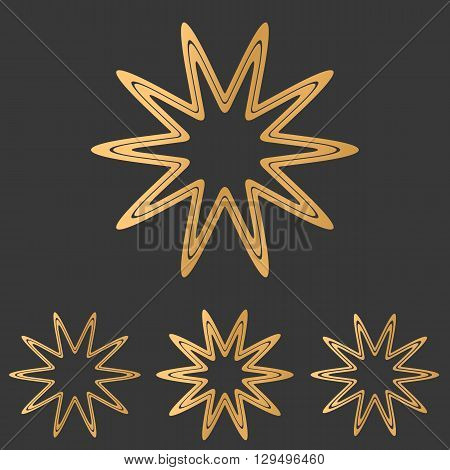 Bronze line star logo icon design set