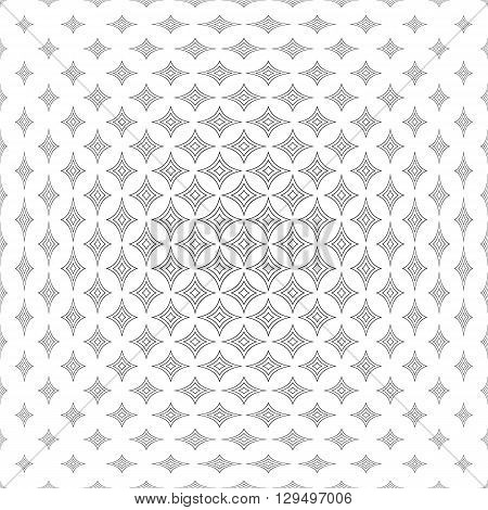 Repeating monochromatic abstract curved star pattern background
