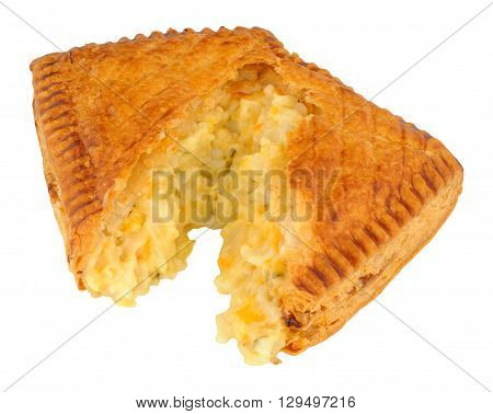 Cheese and onion filled puff pastry savoury slice isolated on a white background