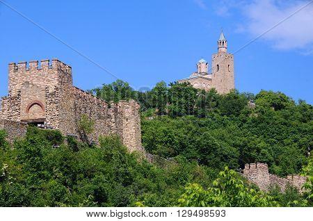 Medieval Tsarevets stronghold in the city of Veliko Tarnovo in Bulgaria in the springtime
