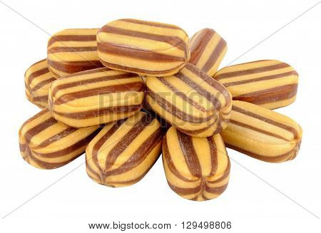 Group of striped mint humbugs isolated on a white background