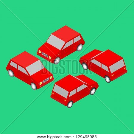 set of red isometric cars on the green background
