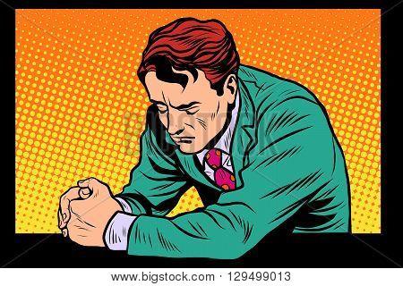 Prayer man praying, sad emotions pop art retro style. Religion and faith. Retro man vector