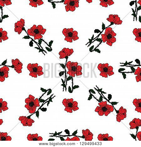Summer or spring design of  Seamless floral pattern with red flowers of poppies. Vector spring flower banner, spring flower card, wallpapers, textile, packaging