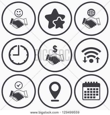 Clock, wifi and stars icons. Handshake icons. World, Smile happy face and house building symbol. Dollar cash money. Amicable agreement. Calendar symbol.