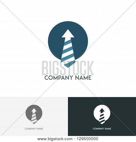 Business logo - tie with stripes in circle on the white background