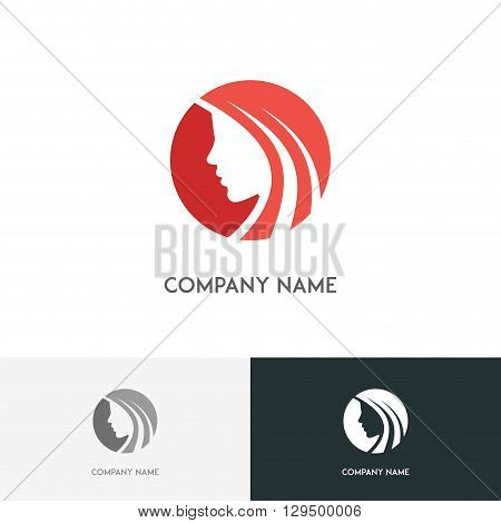Beautiful woman logo - girl with long hair on the white background