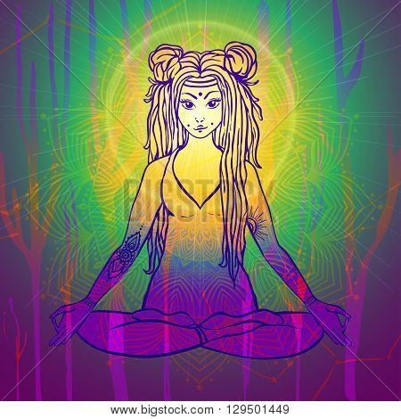 Hippie girl with dreadlocks. Hippie style Yoga poses Love and Music with hand written fonts, hand drawn hippie girl, bohemian style. Hippy color vector illustration. Retro musician 70s 60s
