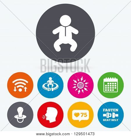 Wifi, like counter and calendar icons. Baby infants icons. Toddler boy with diapers symbol. Fasten seat belt signs. Child pacifier and pram stroller. Human talk, go to web.