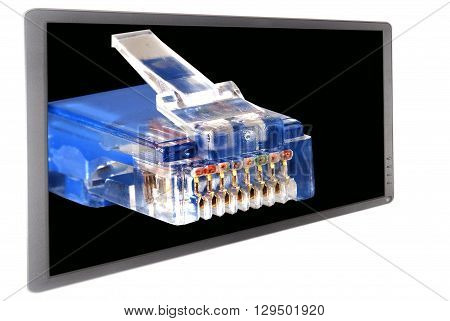 Global communication concept with ethernet cable and widescreen