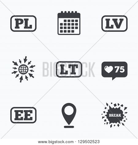 Calendar, like counter and go to web icons. Language icons. PL, LV, LT and EE translation symbols. Poland, Latvia, Lithuania and Estonia languages. Location pointer.