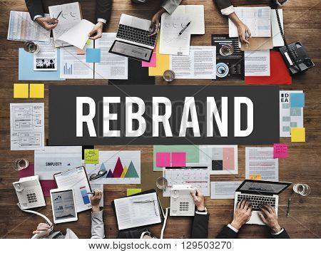 Re-brand Change Corporate Identity Marketing Concept