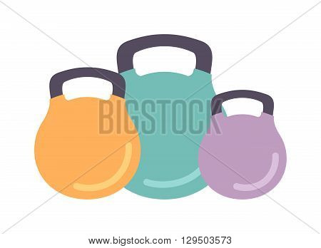 Rough cast iron kettle dumbbells weight isolated on white background. Fitness equipment gym dumbbells isolated and exercise sport strength dumbbells isolated. Heavy workout dumbbells isolated.