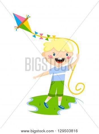 Little boy plays with fly kite character vector illustration. Playing little boy and fun happy playing boy. Playing boy leisure summer playful small boy activity. Cheerful smiling boy outdoors game.