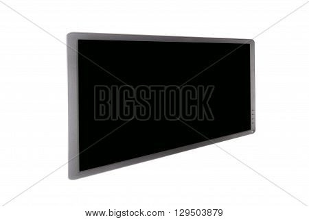 Widescreen digital monitor isolated agaiants white backround