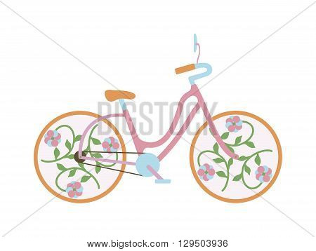 Vintage rusted old bicycle isolated on a white background. Vintage old bike vector illustration and vintage old bike transport. Vintage old bike retro wheel. Cycle transportation antique classic.