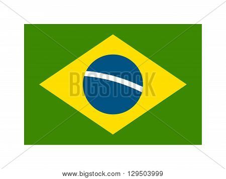 Brazil flag over green background vector illustration. Brazil flag country symbol and brazil flag national background design. Brazil flag texture state. Brazil flag patriotism icon.