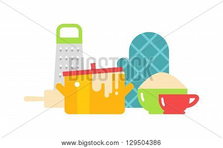 Kitchenware isolated stacked cooking equipment multi colored. Kitchenware isolated vector and kitchenware isolated set. Kitchenware isolated cooking equipment cook dinner plate metal domestic design.