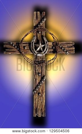 A rustic wooden cross decorated with wire, horseshoe, and a star.