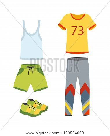 Gym outfit workout jogging clothes, running shoes while working out fitness center. Matching jogging clothes sports bra. Jogging clothes healthy active run workout and sport training jogging clothes.