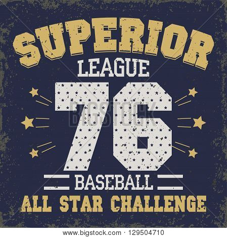 Baseball t-shirt graphic design. All Stars Championship typography emblem Sport wear tshirt stamp graphics, vintage tee print, athletic apparel design - vector