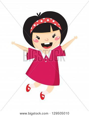 Girl jumping with happy expression, isolated on white. Japan girl jumping vector and cute japan girl jumping. Japan little girl jumping happy motion people, young motion movement jumper beauty girl.