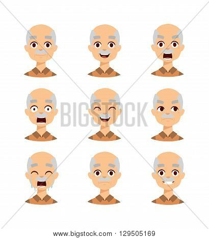 Active retirement old man emotions, group of three old male vector avatars. Old man emotions laughing.old man emotions vector icons and old man emotions avatars. Old man emotions grandfather face.