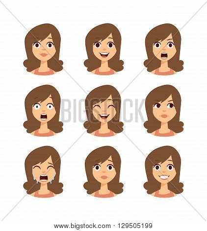 Girl emotion faces cartoon vector illustration. Woman emoji face icons and woman emoji face cute symbols. Woman emoji face happy vector and woman emoji face character symbols. Human expression sign.