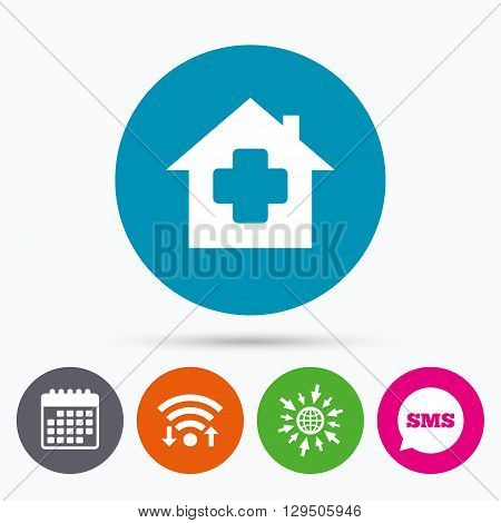 Wifi, Sms and calendar icons. Medical hospital sign icon. Home medicine symbol. Go to web globe.