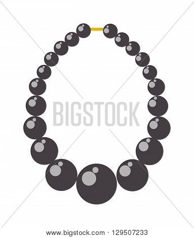 Black pearl necklace. Black pearl bead necklace fashion accessory and black pearl bead jewelry gift. Black pearl bead vector illustration treasure string feminine gem elegance expensive pearl.