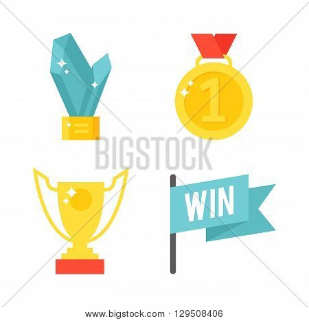 Collection of stars gold awards isolated on white. Awards isolated vector and gold awards isolated trophy. Awards isolated success competition trophy winner shiny first golden prize.