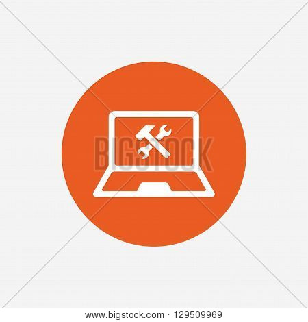 Laptop repair sign icon. Notebook fix service symbol. Orange circle button with icon. Vector
