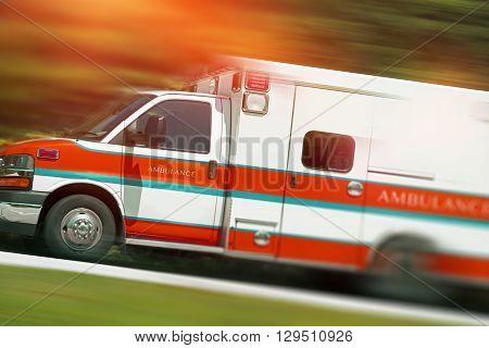 Ambulance Emergency Call. Speeding Ambulance Vehicle. Paramedics in Action.