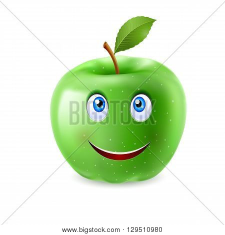 Green cartoon apple with a single leaf and happy smiling face